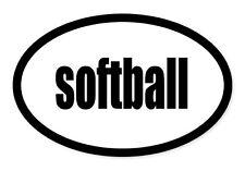 "Softball Sport Oval car window bumper sticker decal 5"" x 3"""