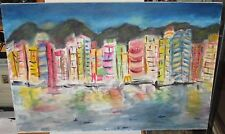 HUGE ABSTRACT CITYSCAPE OIL ON CANVAS PAINTING UNSIGNED