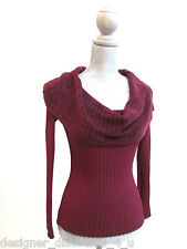 WOW couture burgundy cowl neck long sleeve Sweater Top shirt Women Size sz S NEW