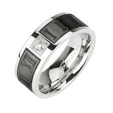 Stainless Steel Wedding Engagement Band Black IP Engraved Roman Numerals CZ Ring