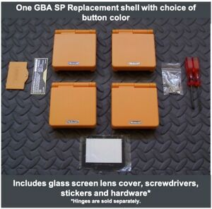 GBA SP Replacement Housing Shell,GLASS LCD Lens Cover, ORANGE-Pick Button Color!