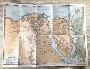 1917 German WW1 Map of Egypt The Sinai Peninsula Suez Original Military War