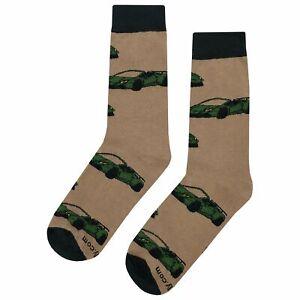 NWT Super Car Dress Socks Novelty Men 8-12 Tan Fun Sockfly