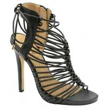 Ravel Maryhill Black Stiletto High Heel Evening Caged Sandals Party Shoes UK 5