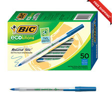 Bic Ecolutions Round Stic Ballpoint Pen An Medium Point 10mm Blue 50 Count