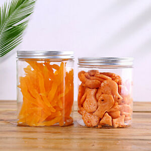 Plastic Storage Jar With Aluminum Lids Herb Food Containers Clear Crafts Pots 1x