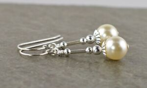 Cream Crystal Pearl & Sterling Silver Drop Earrings with Gift Box - Bridal