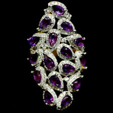 NATURAL PURPLE AMETHYST & WHITE CZ RING 925 STERLING SILVER SIZE7.75