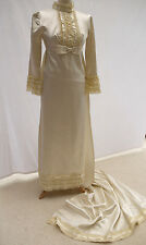 BEAUTIFUL EDWARDIAN STYLE 60's VINTAGE CREAM WEDDING DRESS GOWN LONG TRAIN UK6-8