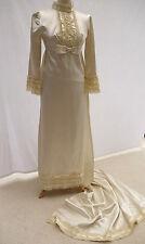 BEAUTIFUL EDWARDIAN Style Années 60 Vintage Cream Robe de mariée robe long train UK6-8