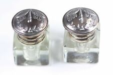 STERLING SILVER GLASS INKWELL BY WINDSOR PARK SET OF 2 #6467D