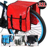 Classic Double Waterproof Bicycle Pannier Bag 31L Bike Cycle Shopping Commuter