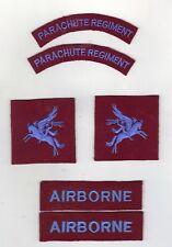 WW2 BRITISH BADGES PARACHUTE REGIMENT AS WORN ON BATTLE DRESS - REPRODUCTIONS A