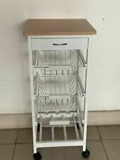 3 Tier Kitchen Trolley White Wooden Cart Basket Storage Drawer