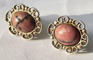 Silver and rhodocrosite stud earrings