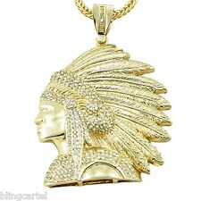 """American Indian Chief Iced-Out Pendant Gold Finish 36"""" In Franco Necklace Chain"""