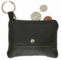 Black Leather Men's Large 3 Zip Coin Purse Front Pocket Key Ring Change Holder