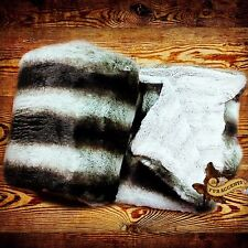 Faux Fur Throw Blanket - Bedspread - Gray Chinchilla with Minky Fur Fur Accents
