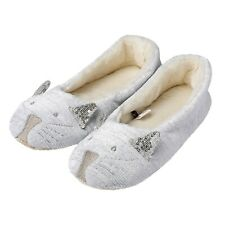 Ladies Enchanting Animal Character Ballet Slip On Slippers Glitter Grey