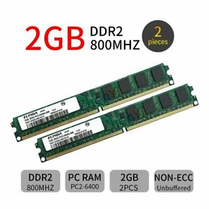 4GB 2x 2GB DDR2 PC2-6400U 800MHz 240Pin PC Desktop Memory DIMM RAM For Elpida ZT