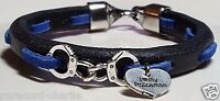 """Thin Blue Line """"I Love My Policeman"""" Black Leather bracelet with handcuffs ™"""