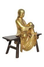 Monk Buddha Figure 24c Gold Valuable Gold-Plated Sculpture Chinese Figures