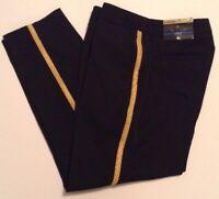 Worthington Womens Dress Pant Ankle Modern Fit Black Gold Tux Size 14 Short