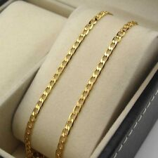 """24k Yellow Gold Filled Necklace 20""""Chain Curb Link GF Charm Fashion Jewelry Gift"""