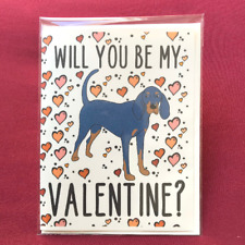 Black and Tan Coonhound Valentines Day Card Handmade Holiday Dog Love Notecard
