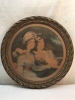 Vtg 1800's Smith P print Round Victorian Frame AUX TROIS QUARTIERS FRANCE