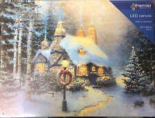 Premier LED Light Up Christmas Canvas Battery 30cm x 40cm Cottage With Wreath