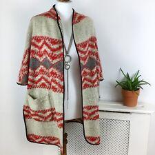 Zara Woman Wool Blend Aztec Knitted Open Cape Poncho Jacket M 8 10 12 Red Beige