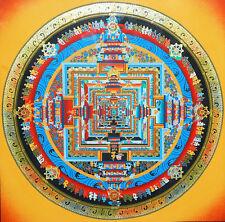 32 Inch Tibet Buddhist Thangka Kalachakra Mandala -Time Wheel Silk Wood Scroll