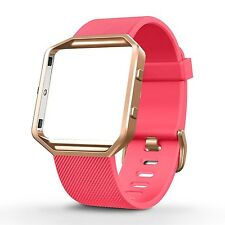 CORAL PINK Small Wristband Strap Band Bracelet +ROSE GOLD Frame For FITBIT BLAZE