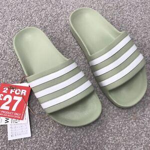 Brand New Adidas Duramo Slides Ladies Khaki Size 4 (37)