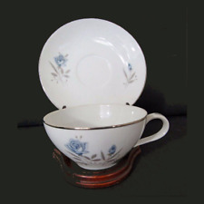 Royal Taunton Fine China Cup & Saucer Blue Rose, Silver Trim JAPAN