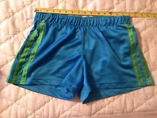 Adidas Womens Large Mesh Athletic Shorts Blue with Green Lined