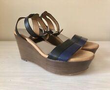 COACH Black Navy Blue CAITLYN Leather Designer Platform Sandals Wedges Shoes 8