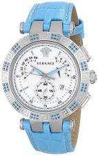 Versace Women's 23C935D002 S535 V-RACE CHRONO Light Blue Topaz Leather Watch