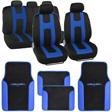 Complete Set Car Seat Covers and 2 Tone Vinyl Mats Black / Blue Front and Rear