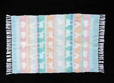 "Handwoven rug 28 x 48"",spring theme, farm animals in pastel colors,cotton NICE"