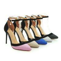 Women's Sequins Ankle Strap Stiletto High Heels Pointed Toe Pumps Fashion Shoes