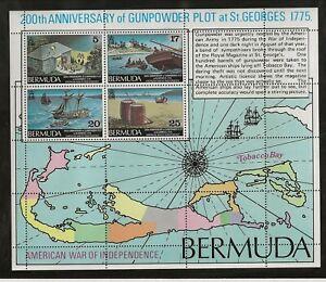 BERMUDA Sc 329-32+332a NH issue of 1975 - SET+SOUVENIR SHEET - AMERICAN HISTORY