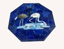 "18"" White Marble side Semi Precious Stones lapis Inlay Work Table"