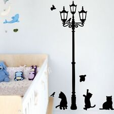 Vinyl Cats Street Lamp Lighs Stickers Wall Decal Removable Art Mural Decal E7CX