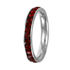 Stainless Steel Eternity Birthstone CZ Crystal Stackable Ring 3MM