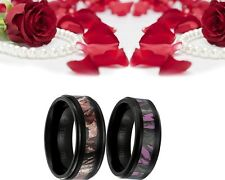 His and Her Titanium Camo Pink Forest Matching Band Engagement Wedding Ring Set