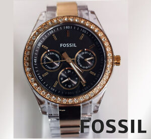 Fossil ES2806 Stella Rose quartz watch day date indicator gold tone Svarowsky