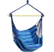 Blue Hanging Rope Chair Porch Swing Seat Relax Patio Camping Max. 265 lbs
