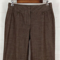 Dressbarn womens size 10 stretch brown chambray mid rise wide-leg cuffed pants